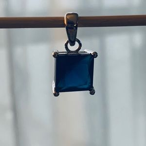 Jewelry - Genuine Blue Sapphire 925 Sterling Silver Pendant